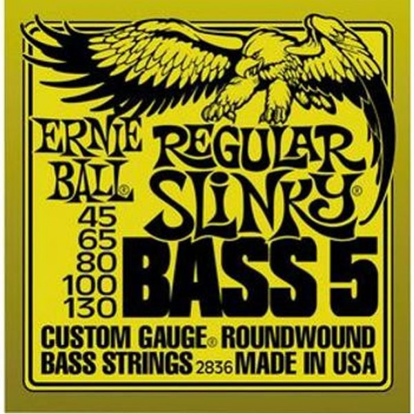 Ernie Ball 2836 Regular Slinky Bass Guitar Strings, 5-String