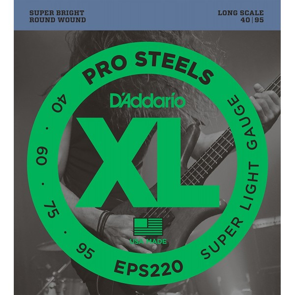 D'Addario EPS220 ProSteels Bass Guitar Strings, Super Light, 40-95, Long Scale