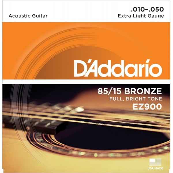 D'Addario EZ900 85/15 Bronze Extra Light Acoustic Guitar Strings 10-50
