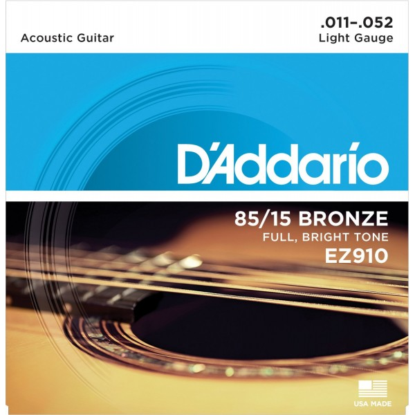 D'Addario 85/15 Light Acoustic Guitar Strings EZ910 11-52