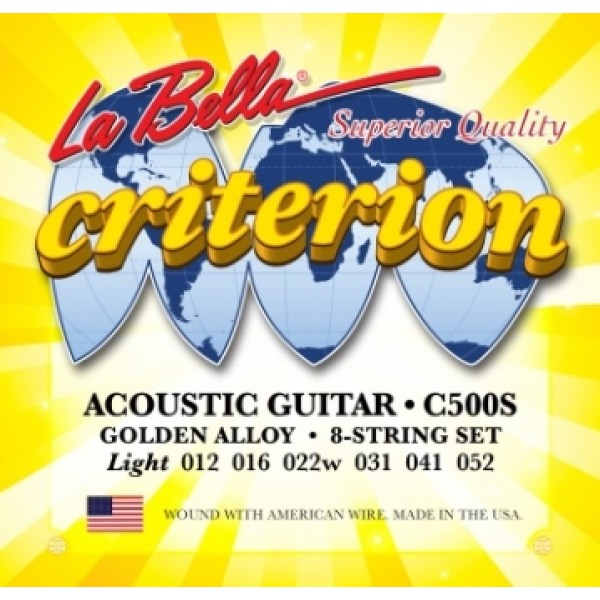 La Bella C500S Golden Alloy Guitar String Set 0.12