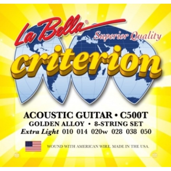 La Bella C500T Golden Alloy Acoustic Guitar String Set 0.010