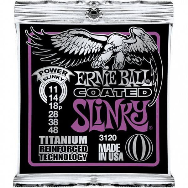 Ernie Ball 3120 Electric Guitar Strings Coated Titanium Power Slinky